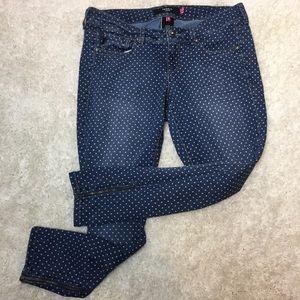 Torrid polka dot ankle jeans with zipper